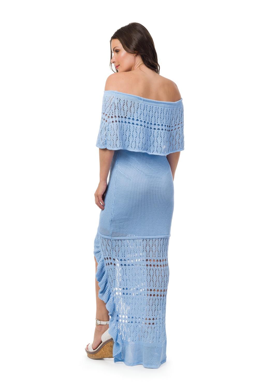 9065a0808c Vestido Longo Tricô Ciganinha Azul Claro Frete Grátis 05056 no Elo7 ...