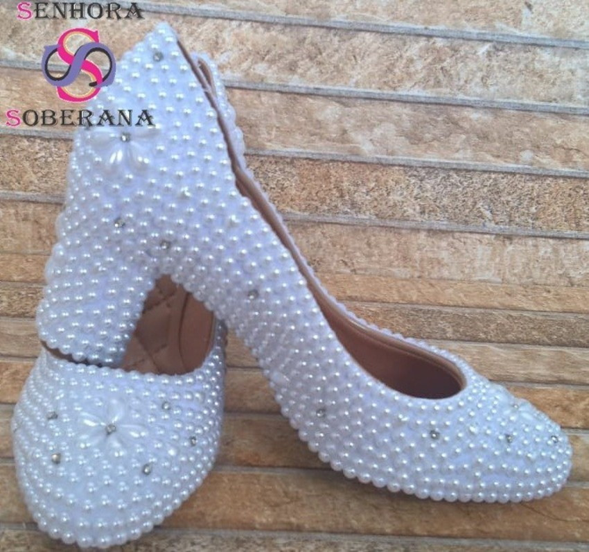 463678b6c Sapato arredondado (Salto Grosso) branco perolado (Noivas) no Elo7 ...