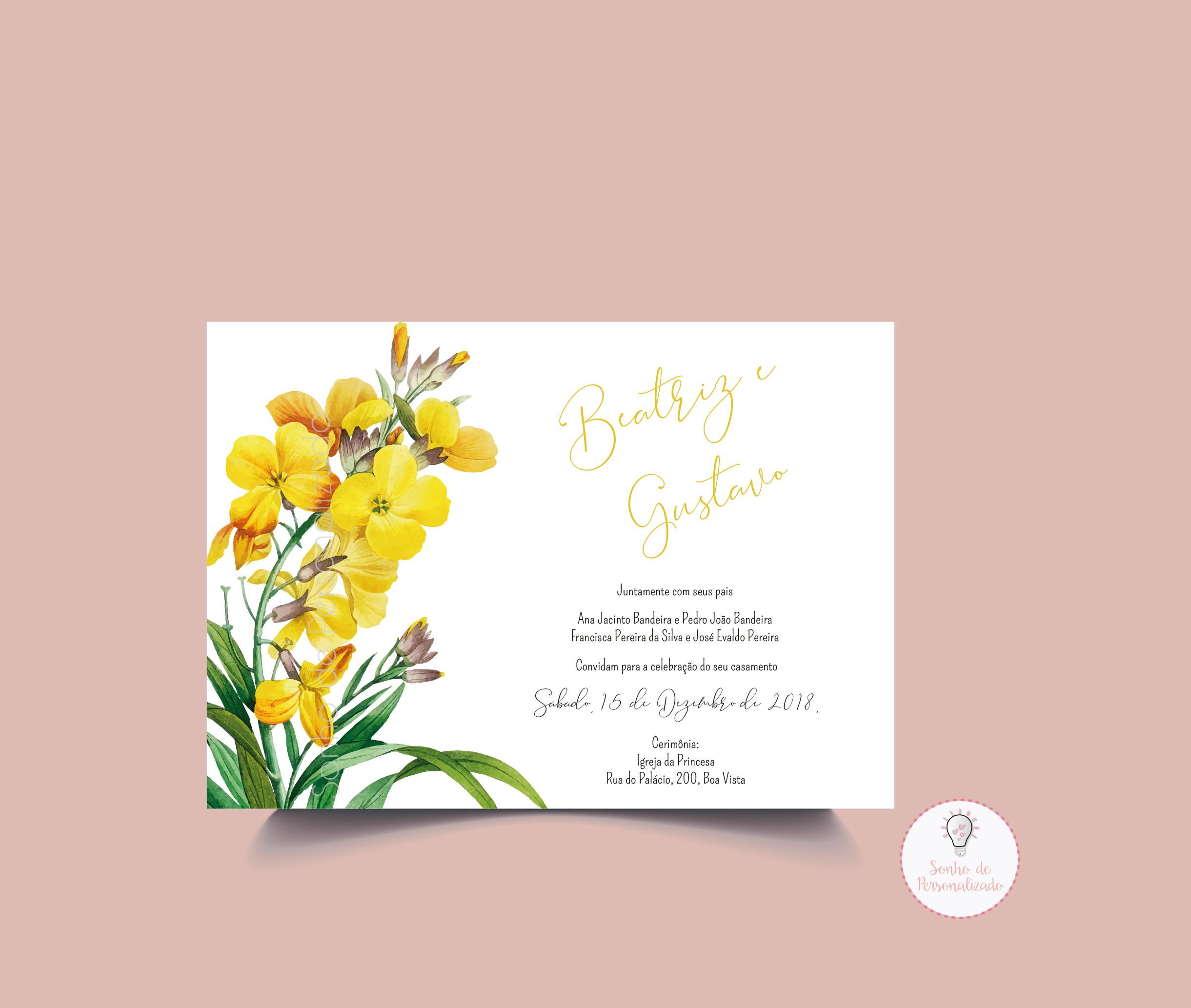 Convite De Casamento Amarelo Elo7
