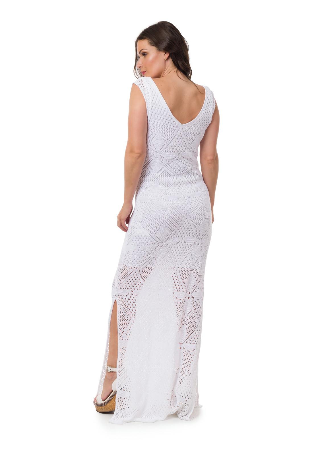 847227482 Vestido Longo Tricot Fendas Branco Frete Grátis 05054 no Elo7 | Loja Pink  Tricot (D69DEC)