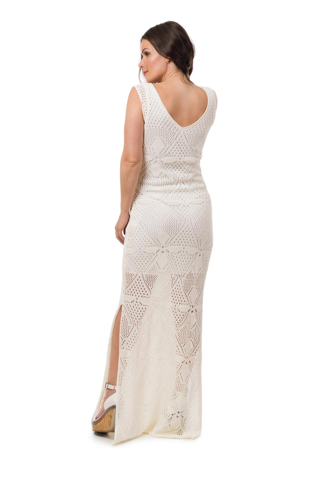 fc754e29e Vestido Longo Tricot Fendas Off White Frete Grátis 05054 no Elo7 | Loja  Pink Tricot (D69DFF)