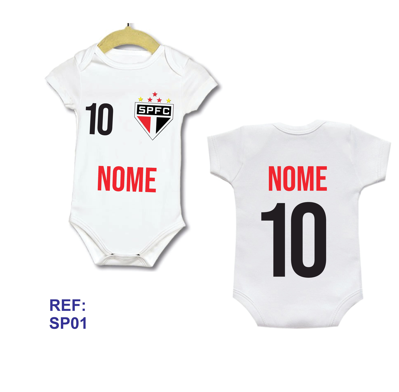 Body Bebe Infantil Personalizado Camisa Sao Paulo com Nome  0ded37748e62a