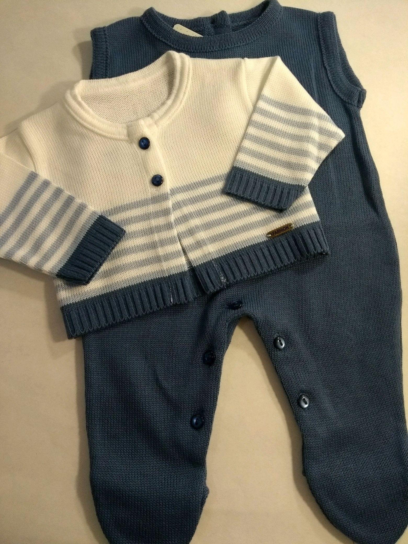 9f02d4b1ff Macacão cavado com casaquinho listrado 2 pçs azul jeans no Elo7 ...