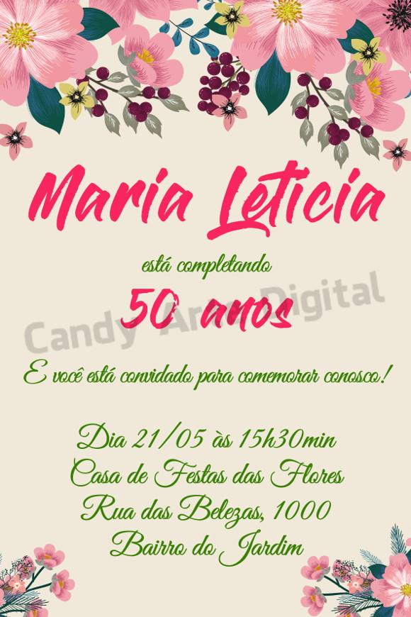 Convite Digital Aniversario Floral 50 Anos No Elo7 Candy Arte