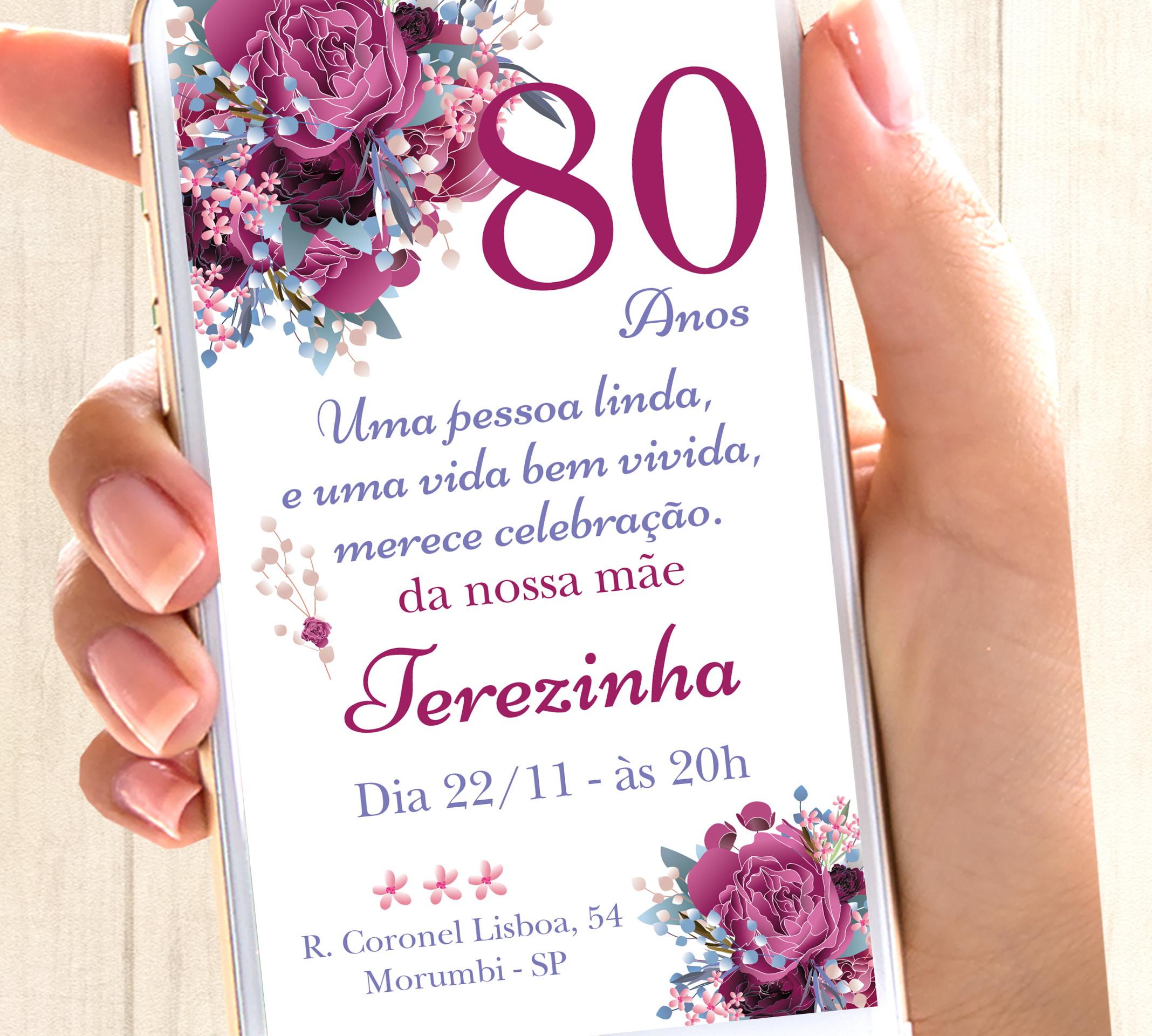 Frases Para Convite De 80 Anos Elo7