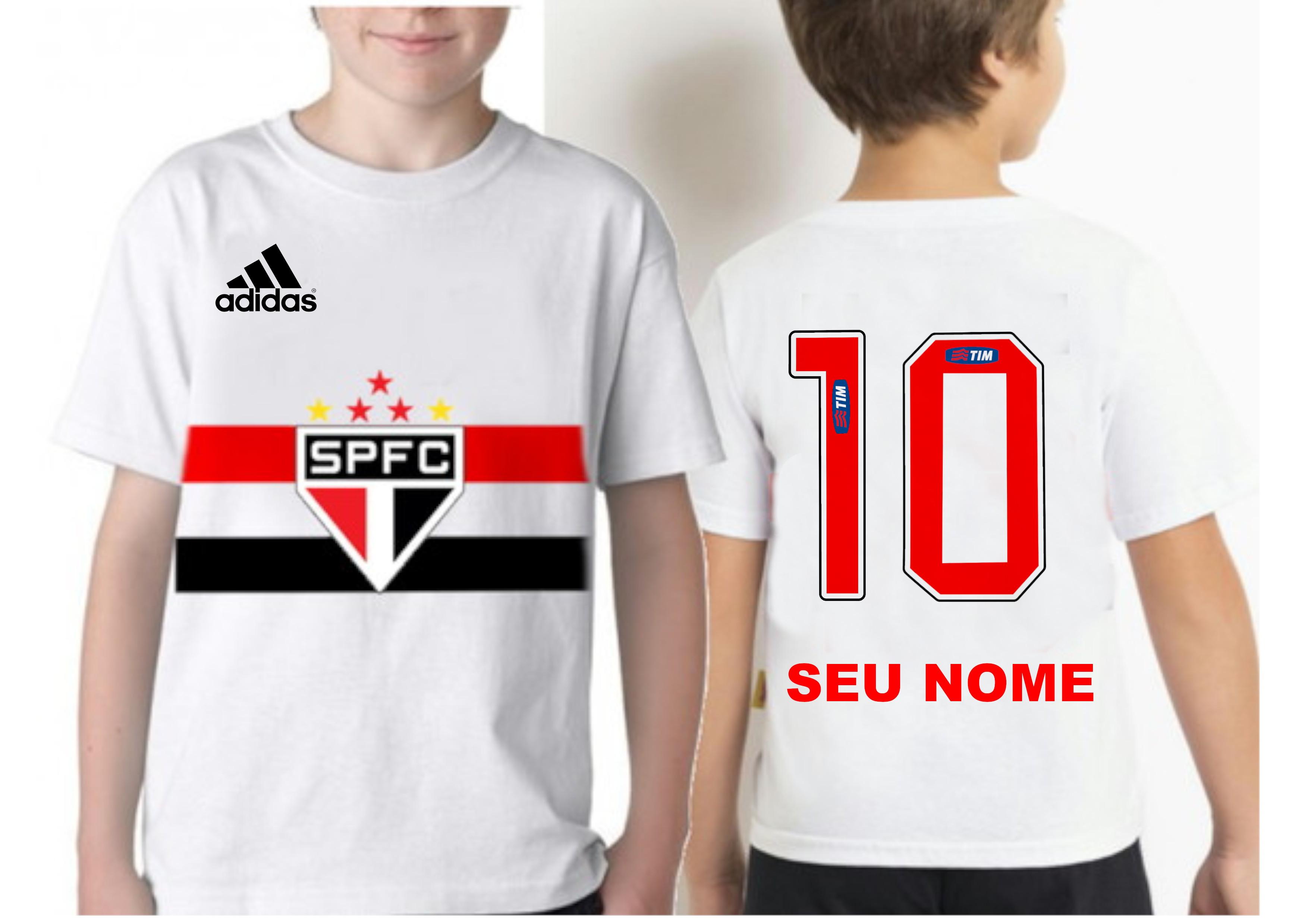 Camiseta Infantil Sao Paulo Personalizada  b341937fdf4a7