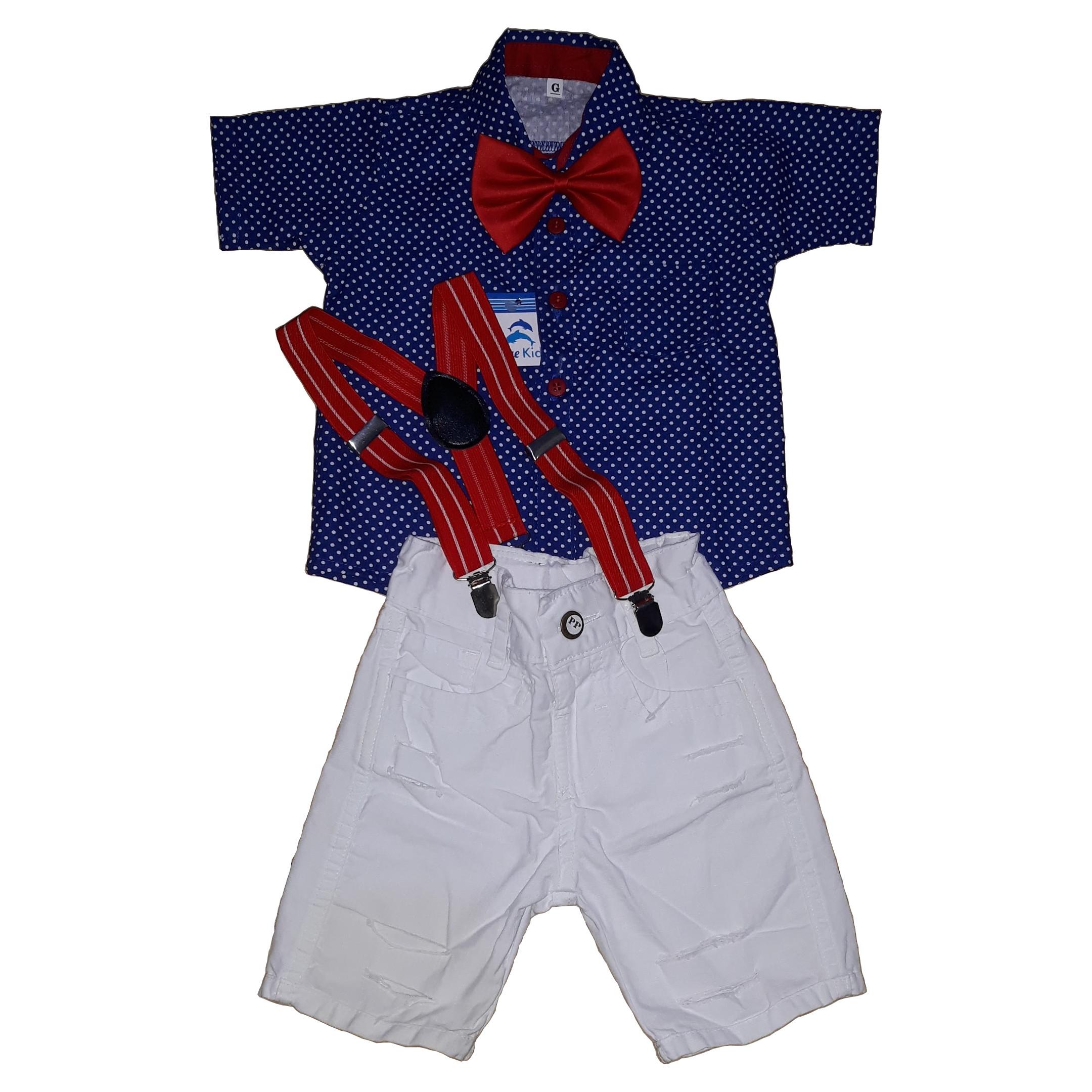 62edcedbf7 Conjunto Camisa Social Infantil Príncipe Bermuda Suspensori no Elo7 | Blue  Kids (D8FCA4)