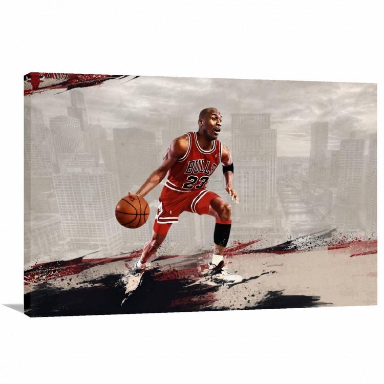 3d99d757877 Quadro Michael Jordan Jogando Decorativo com Tela em Tecido