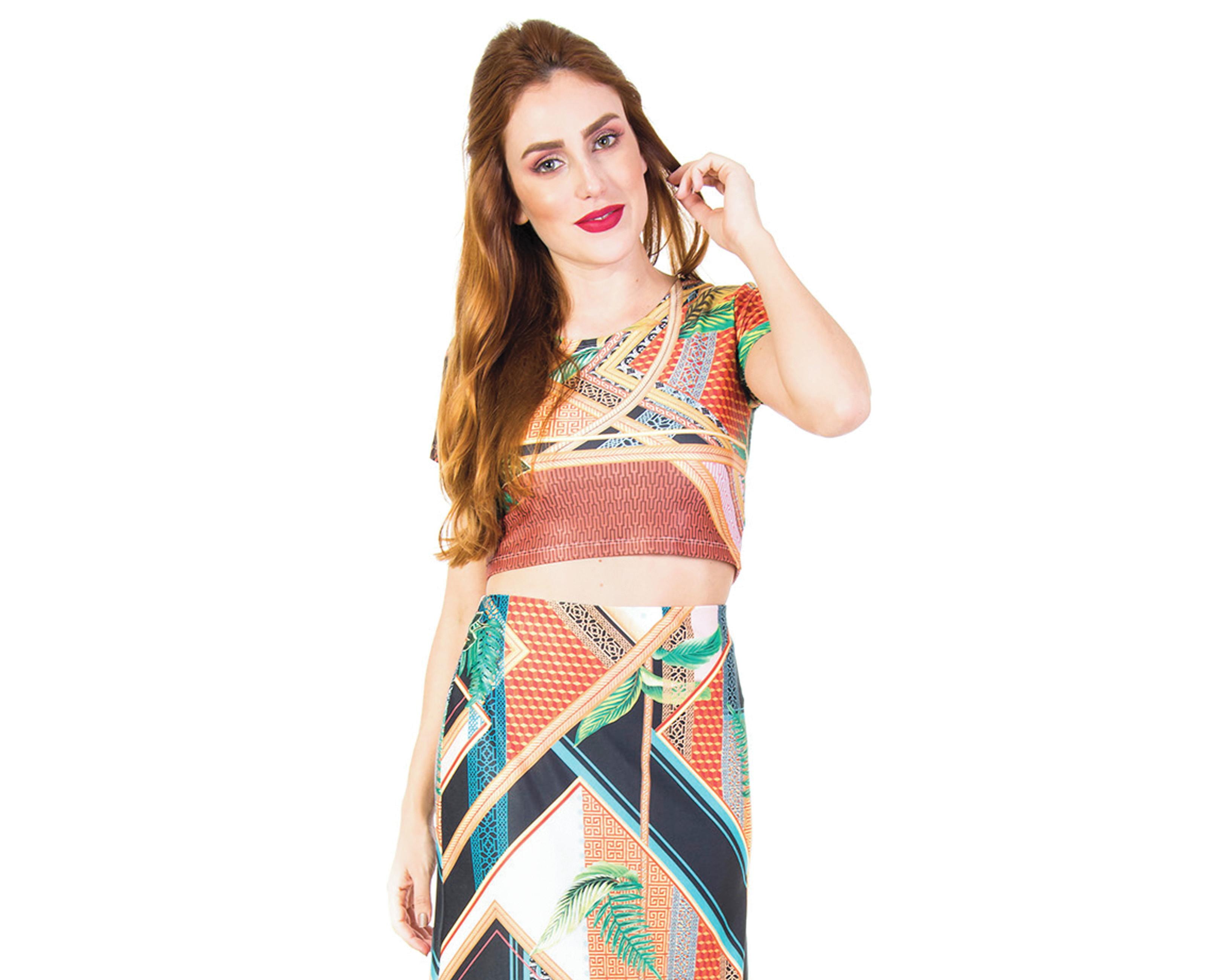 Blusa de Malha Colorida em Rechilieu  62606da0d17