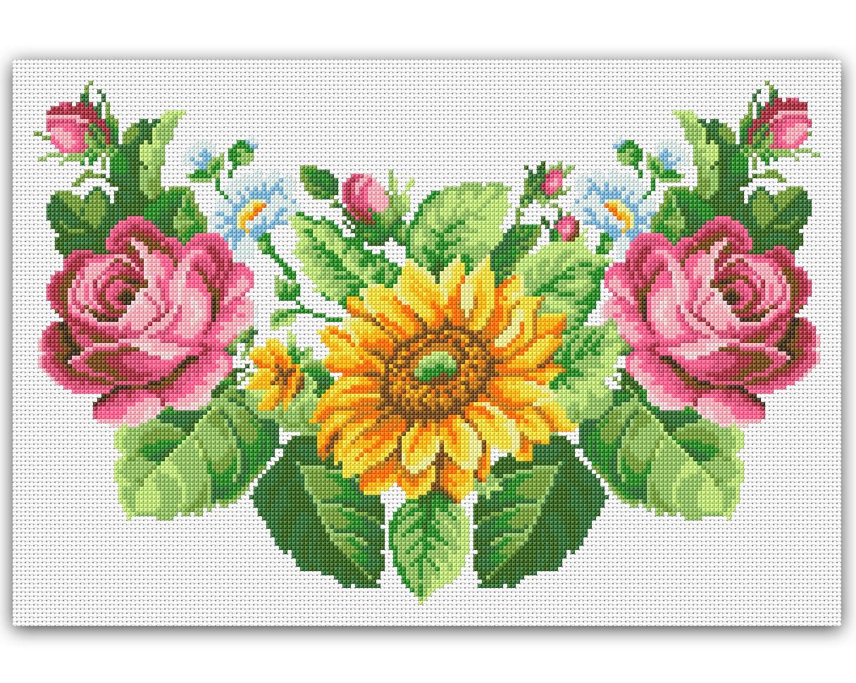 Flores Gráfico Ponto Cruz