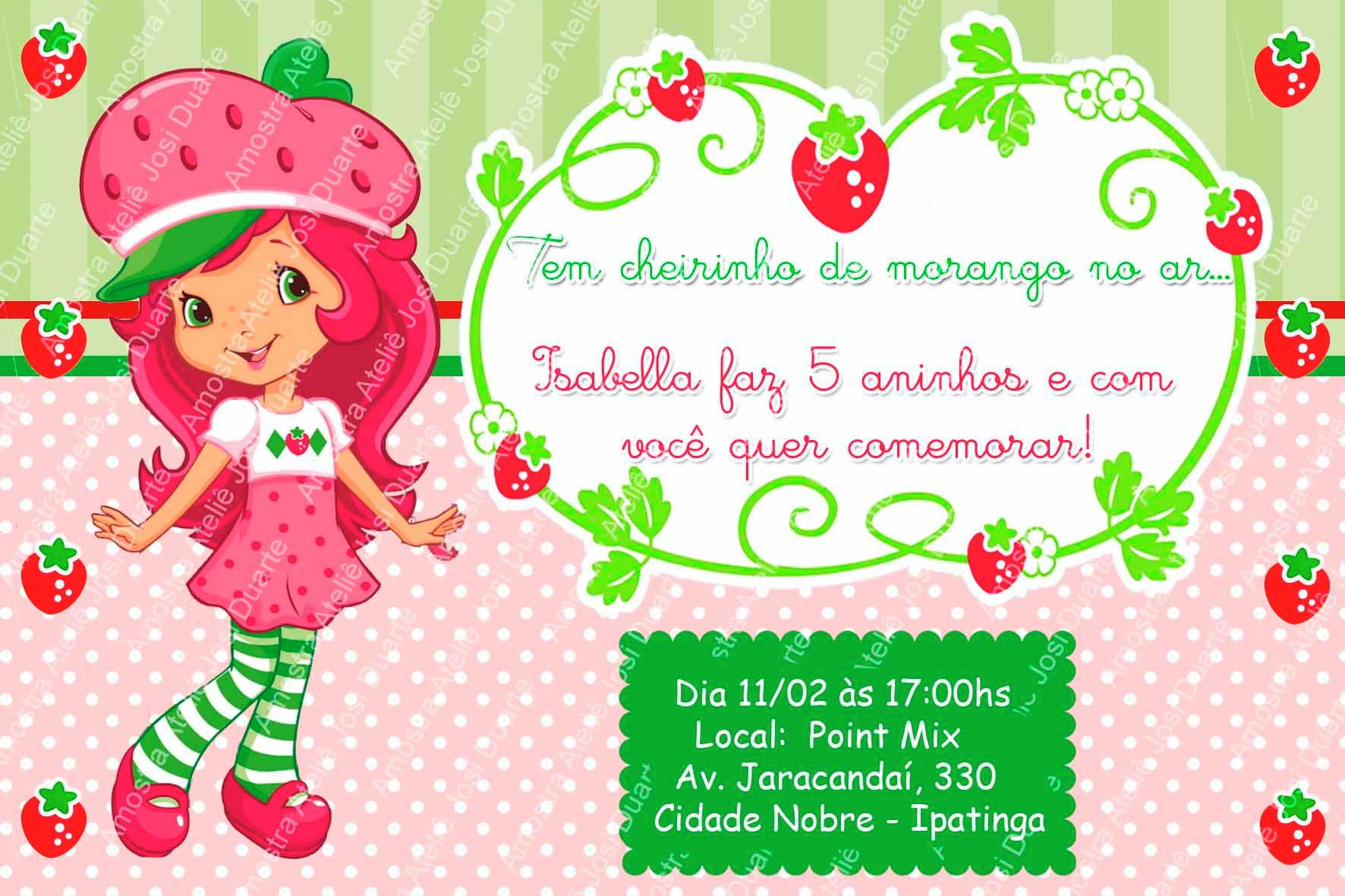 Convite Moranguinho Digital No Elo7 Loja Criativa Presentes
