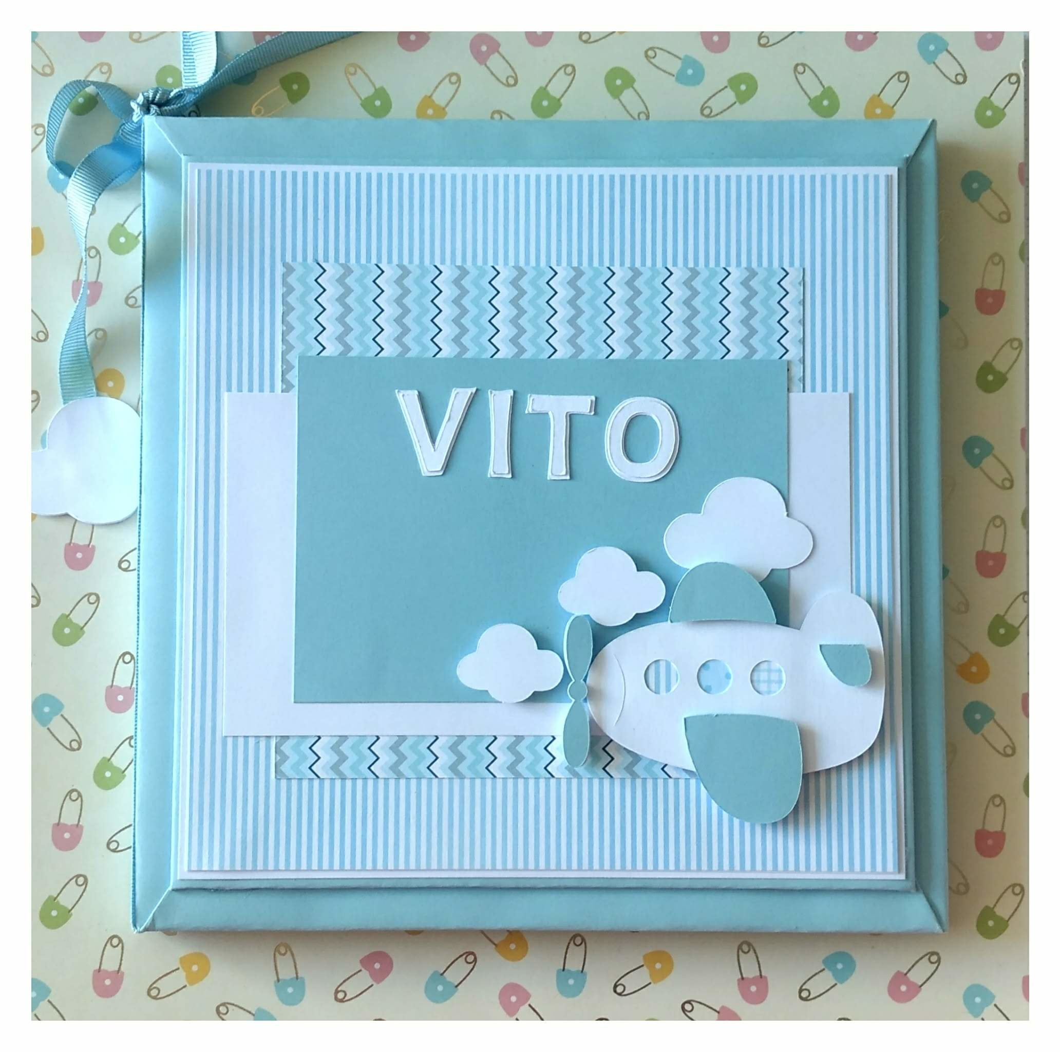 d4c853b5f Livro diário Bebê personalizado menino aviãozinho scrapbook no Elo7 ...