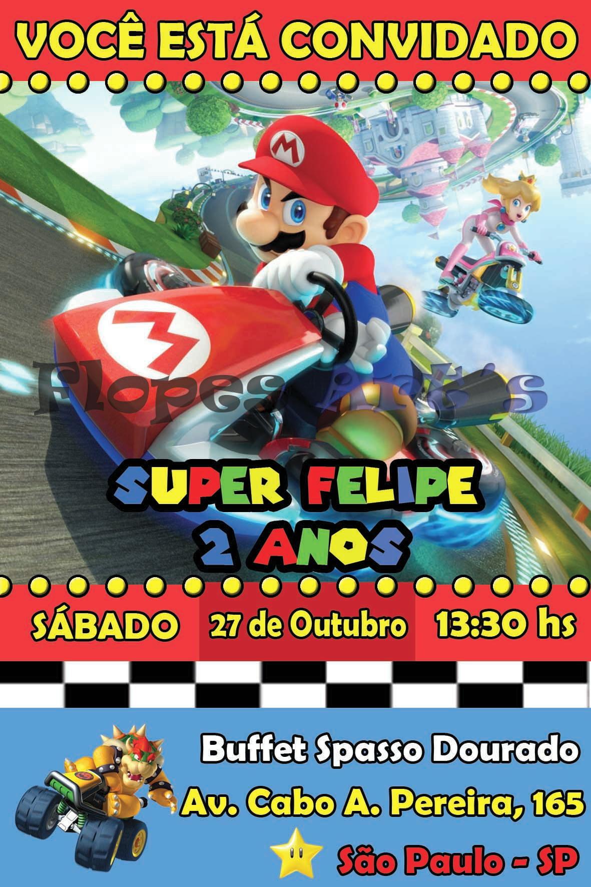 Convite Digital Mario Bros Kart No Elo7 Flopes Arts Da0619