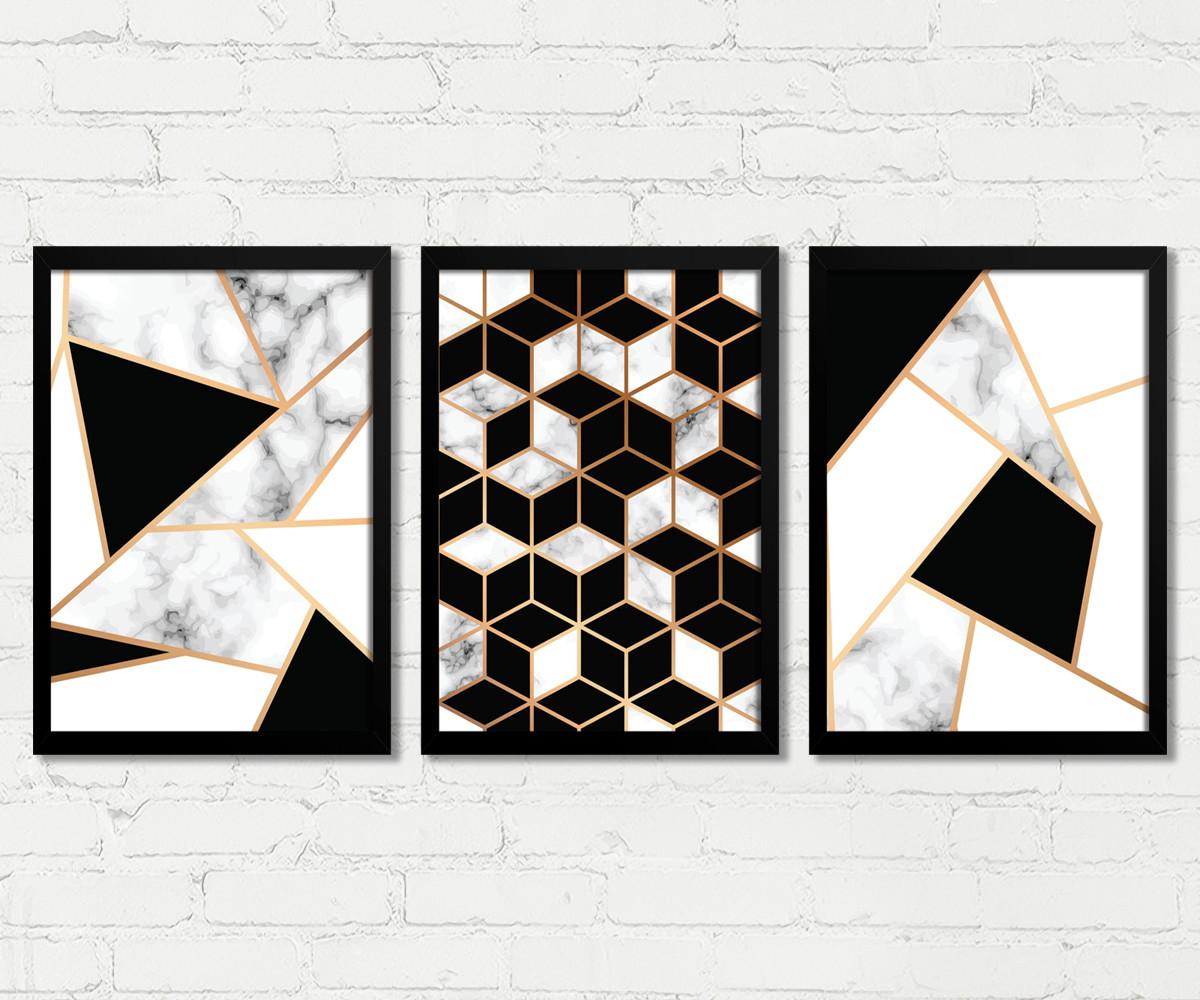 3051f4903 Quadros Abstrato Geométrico Preto Branco Dourado M269B no Elo7