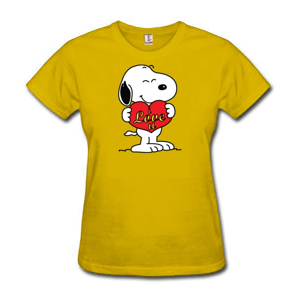 a2fc2a2064 Camiseta Baby Look Feminina Amarela Coloridas com Nome e Idade  Personalizadas Snoopy