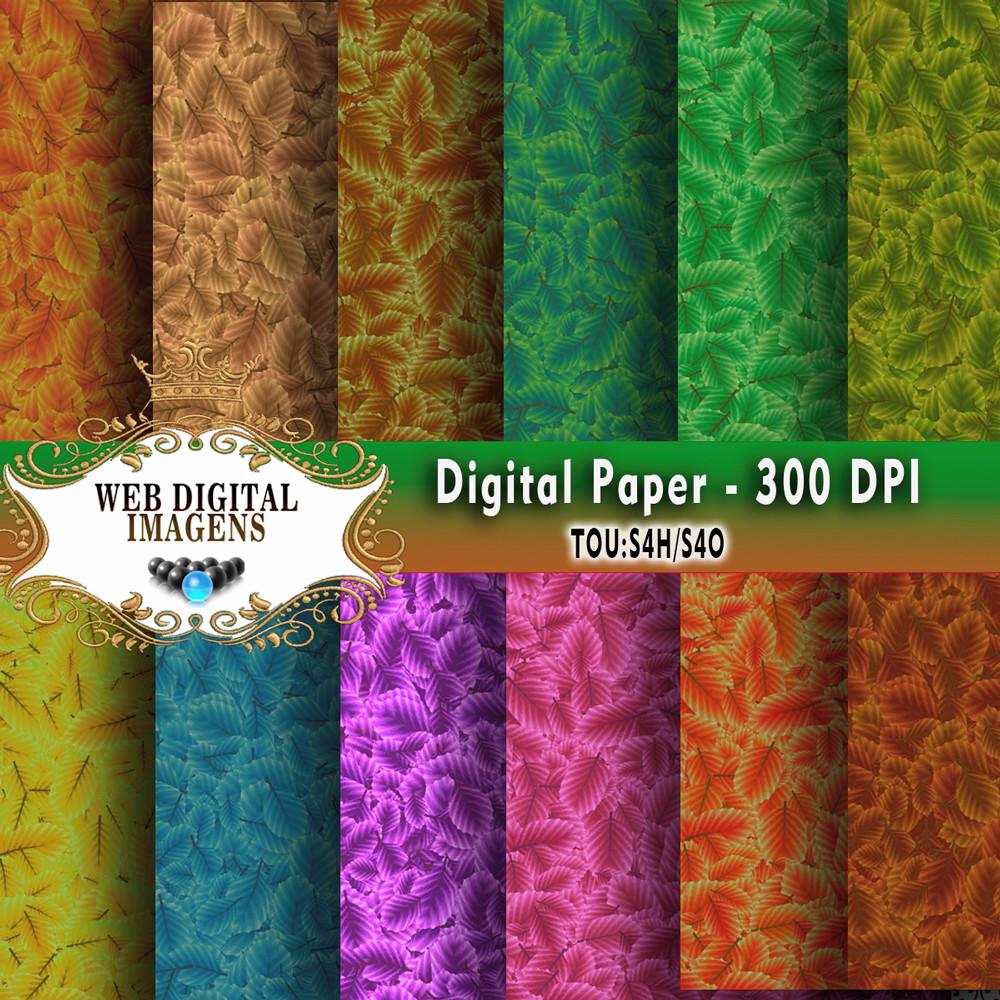 bae58cb06 Papel Digital texturas Folhas de fadas- 13 Papeis - CD31 no Elo7 ...
