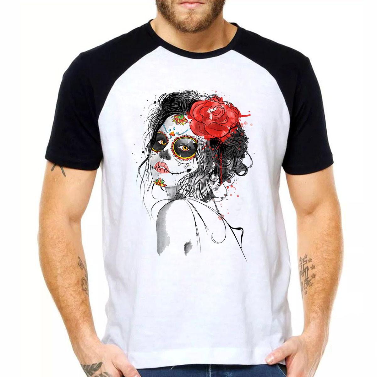 Camiseta Masculina Woman Red Mulher Flor Skull Caveira Skull no Elo7 ... 118299ac39a