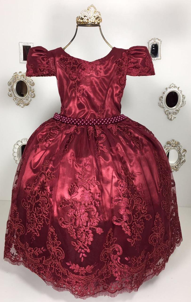 Vestido Infantil Luxo Realeza Vinho Marsala Coroa