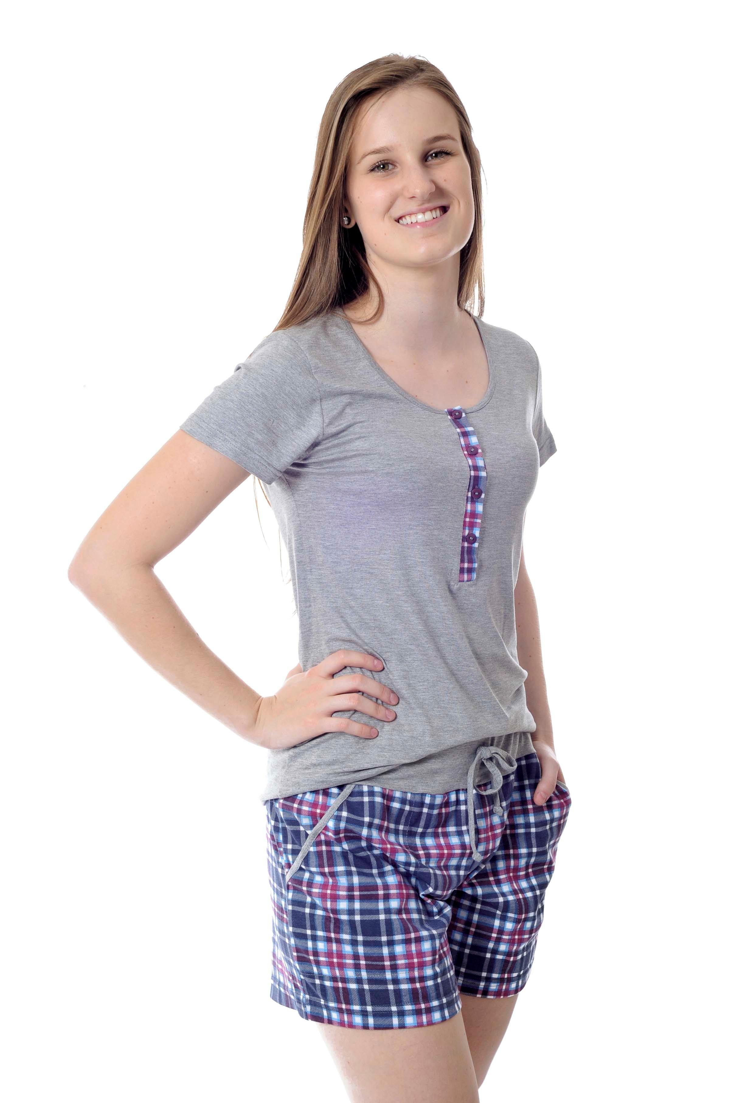 81f17fe6842e98 Pijama de Amamentação Feminino Xadrez Curto com Shorts