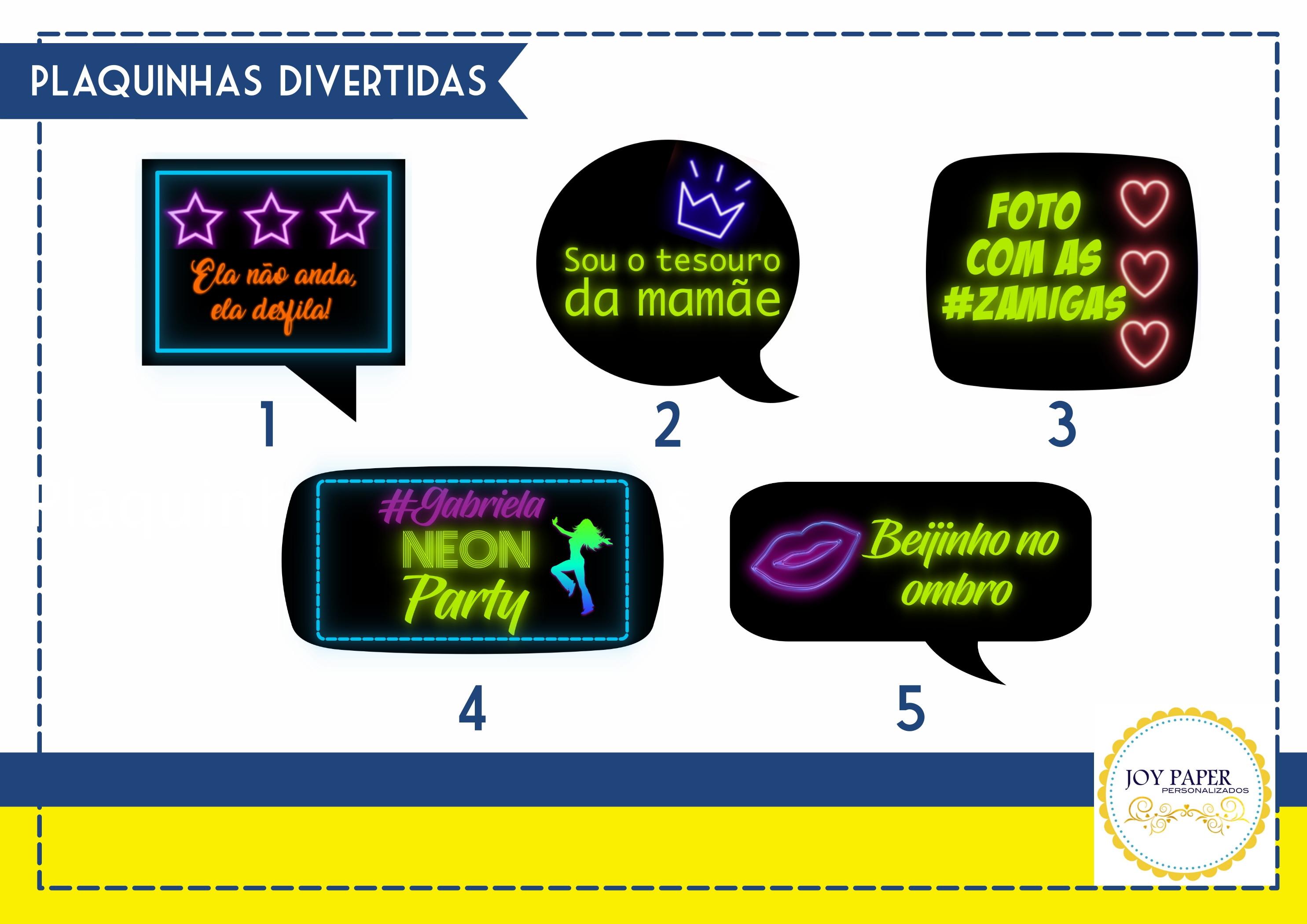 Plaquinhas Divertidas Festa Neon No Elo7 Joy Paper