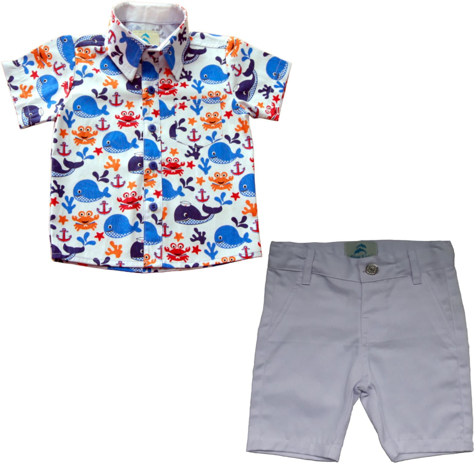 ad73323bdf Camisa Social Infantil Fundo do Mar com Bermuda Branca no Elo7 ...