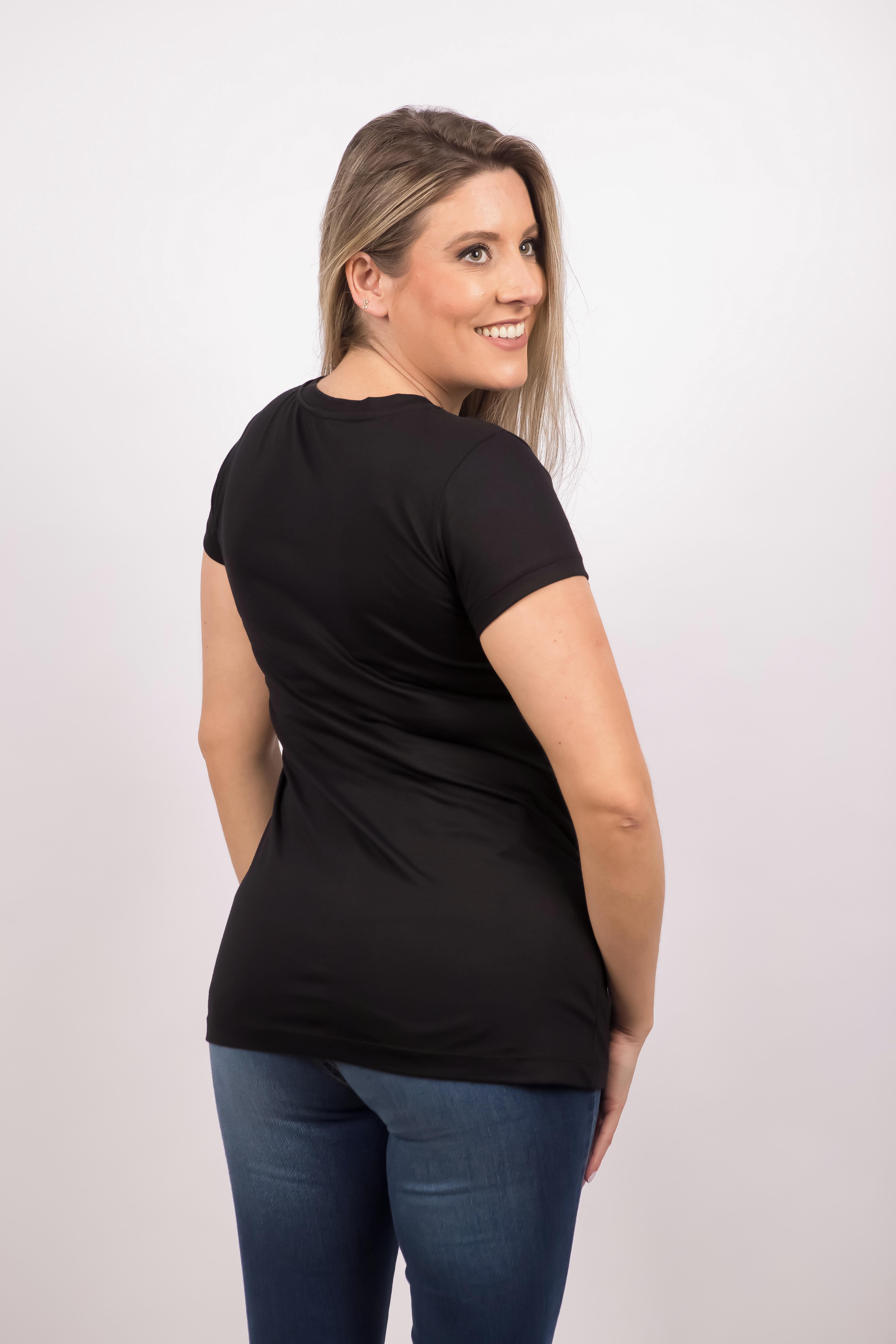 afe47ae0be Blusa Camiseta Básica Feminina Preta Ecológica no Elo7