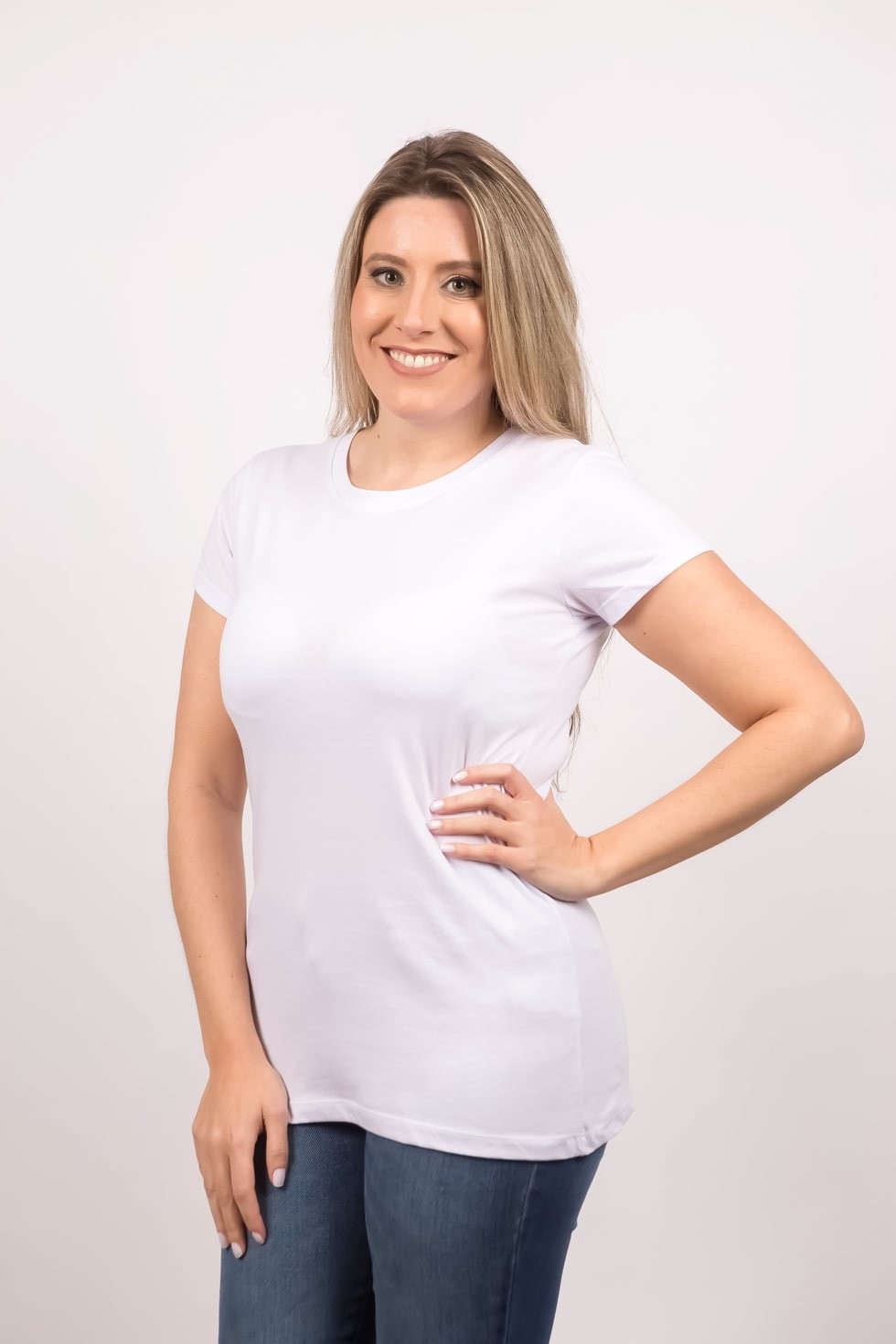 288747b876 Blusa Camiseta Básica Feminina Branca Ecológica no Elo7