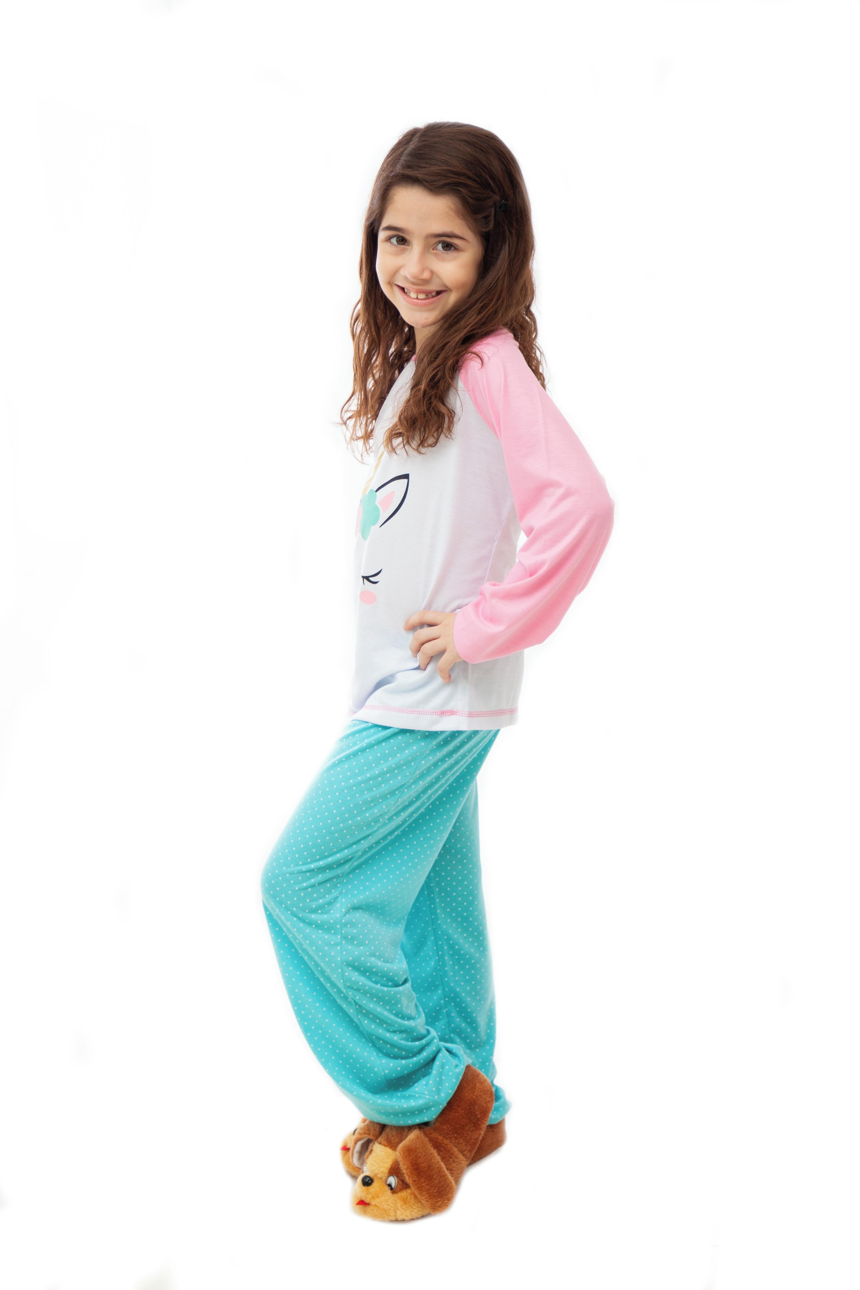 2abaef643 Pijama de Unicórnio Infantil Feminino - Longo com Calça no Elo7 ...