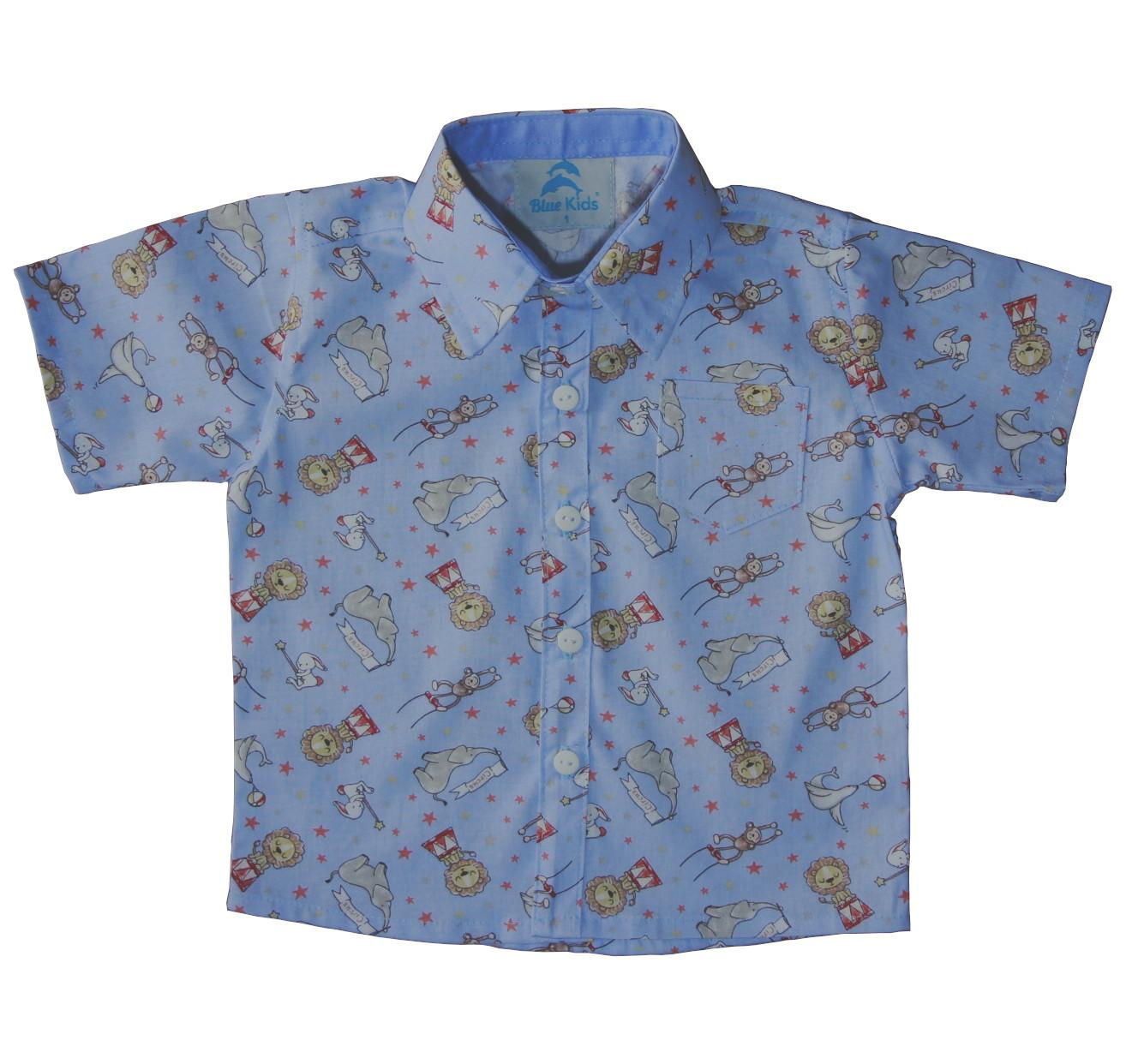 5b0531071f Camisa Social Tematica Infantil Safari Azul
