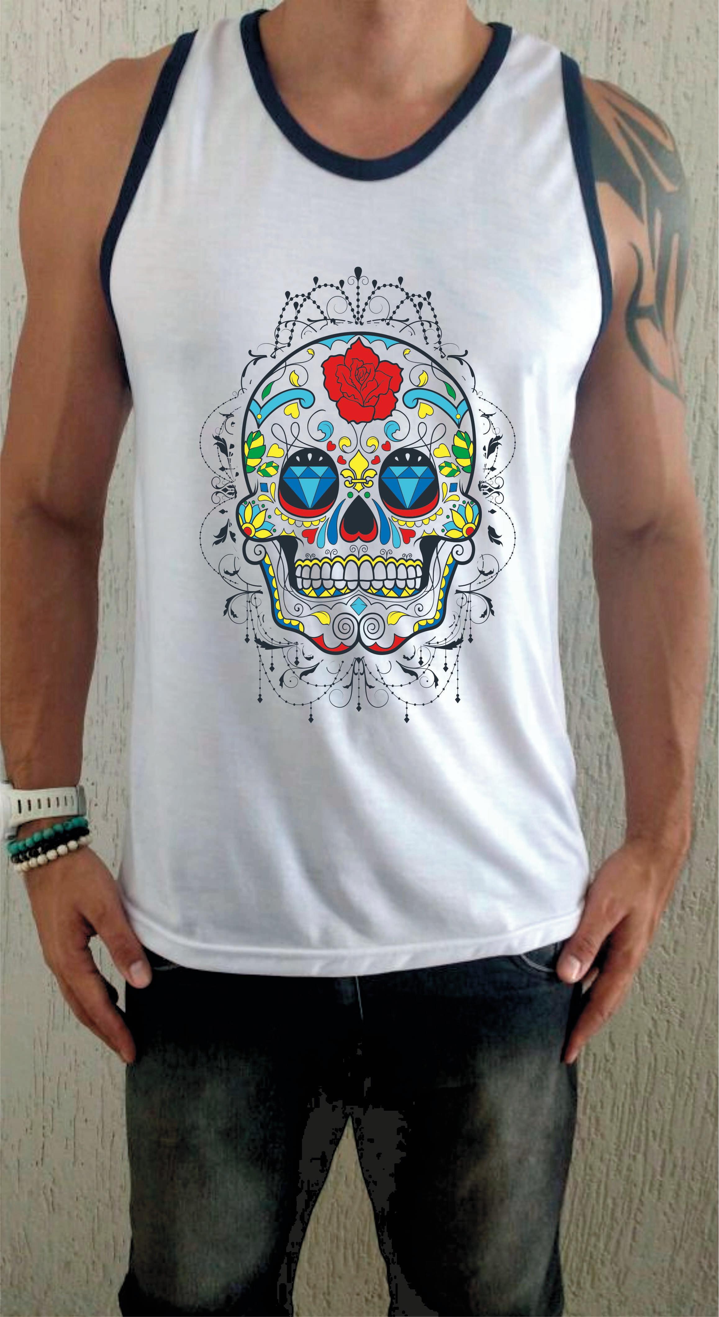 Camiseta Regata Caveira florida no Elo7  eb75fe6a95b