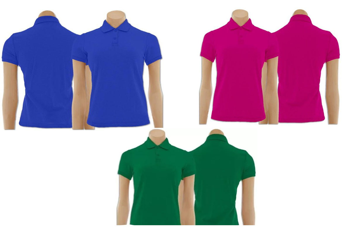 Kit com 3 Camisetas Gola Polo Feminino  96e734615be76