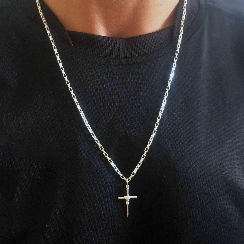 b74bda9ef40 Corrente Masculina Prata Cartier 60 Cm com Crucifixo Manto no Elo7 ...