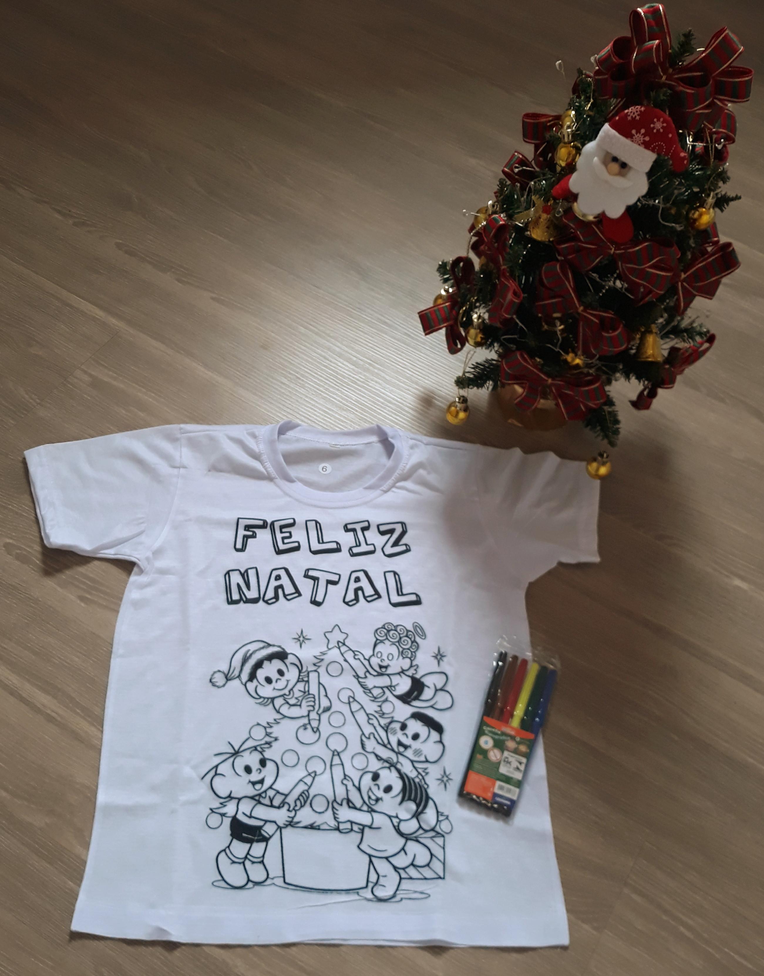 Camiseta Kit Canetas Para Colorir Natal Turma Da Monica No
