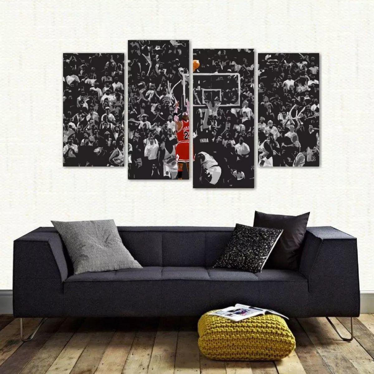 42a1731c711 Quadro Decorativo Michael Jordan Mosaico Em Tecido 4 Peças 1 no Elo7 ...