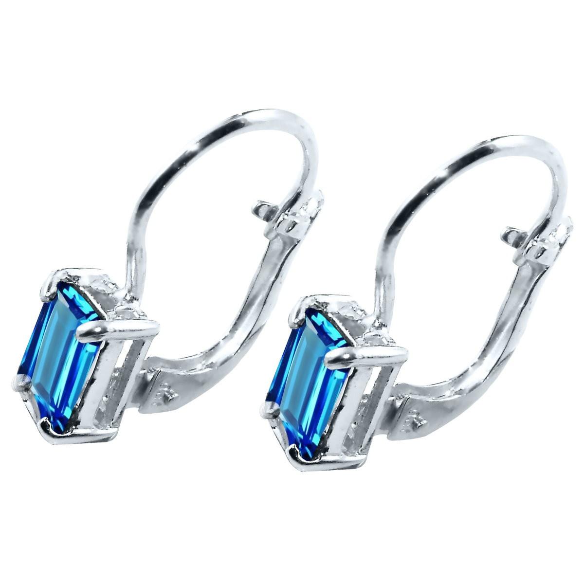 015cffd5a8e0 Brinco Cristal Topazio Azul em Prata 925 | Elo7