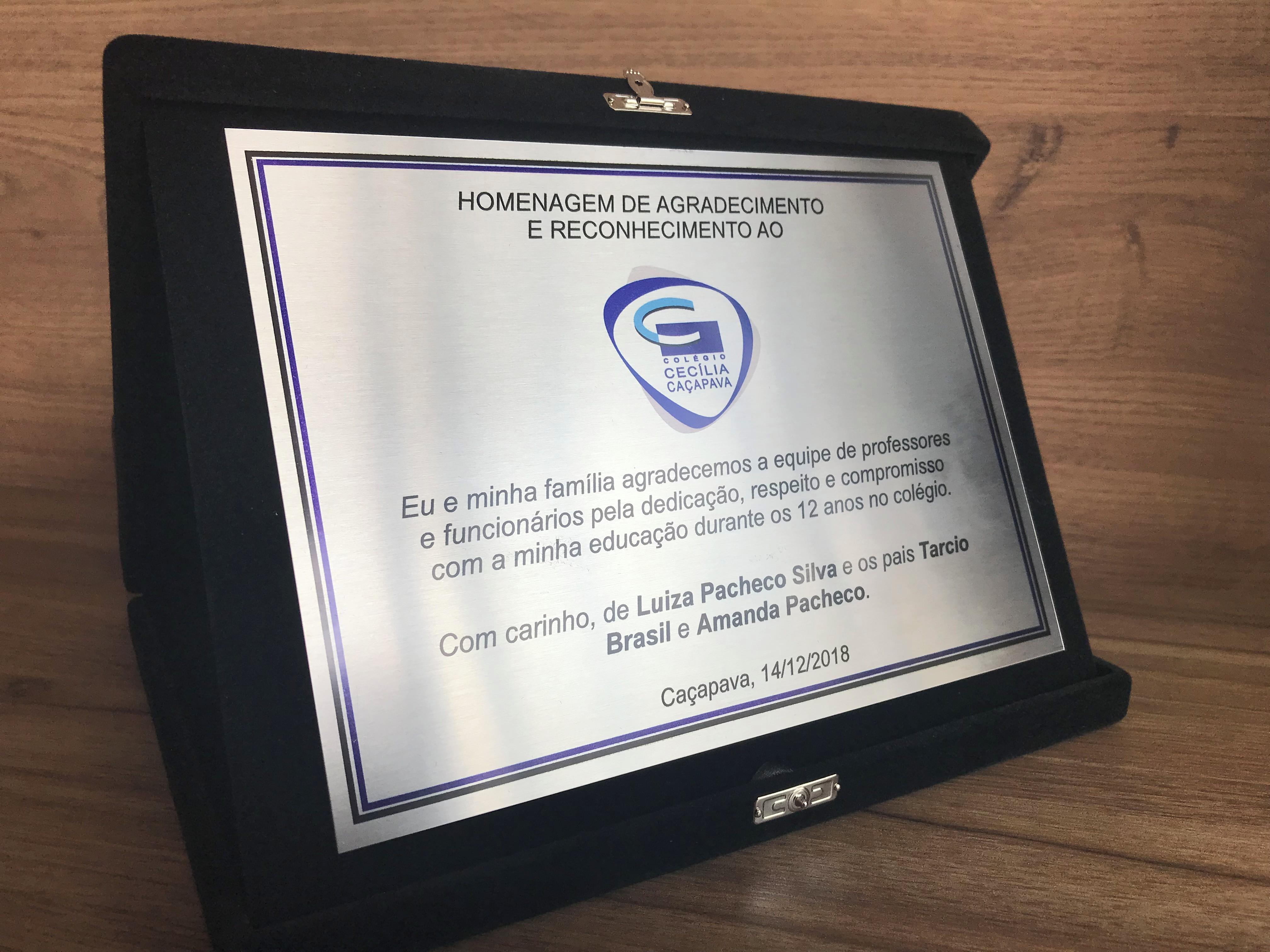Placa De Homenagem Elo7