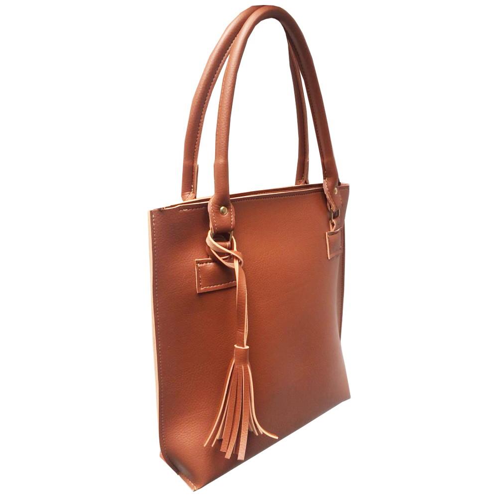 e890f404d Bolsa feminina de mão e ombro estilo sacola caramelo brinde no Elo7   Meu  Tio Que Fez (DE78B6)