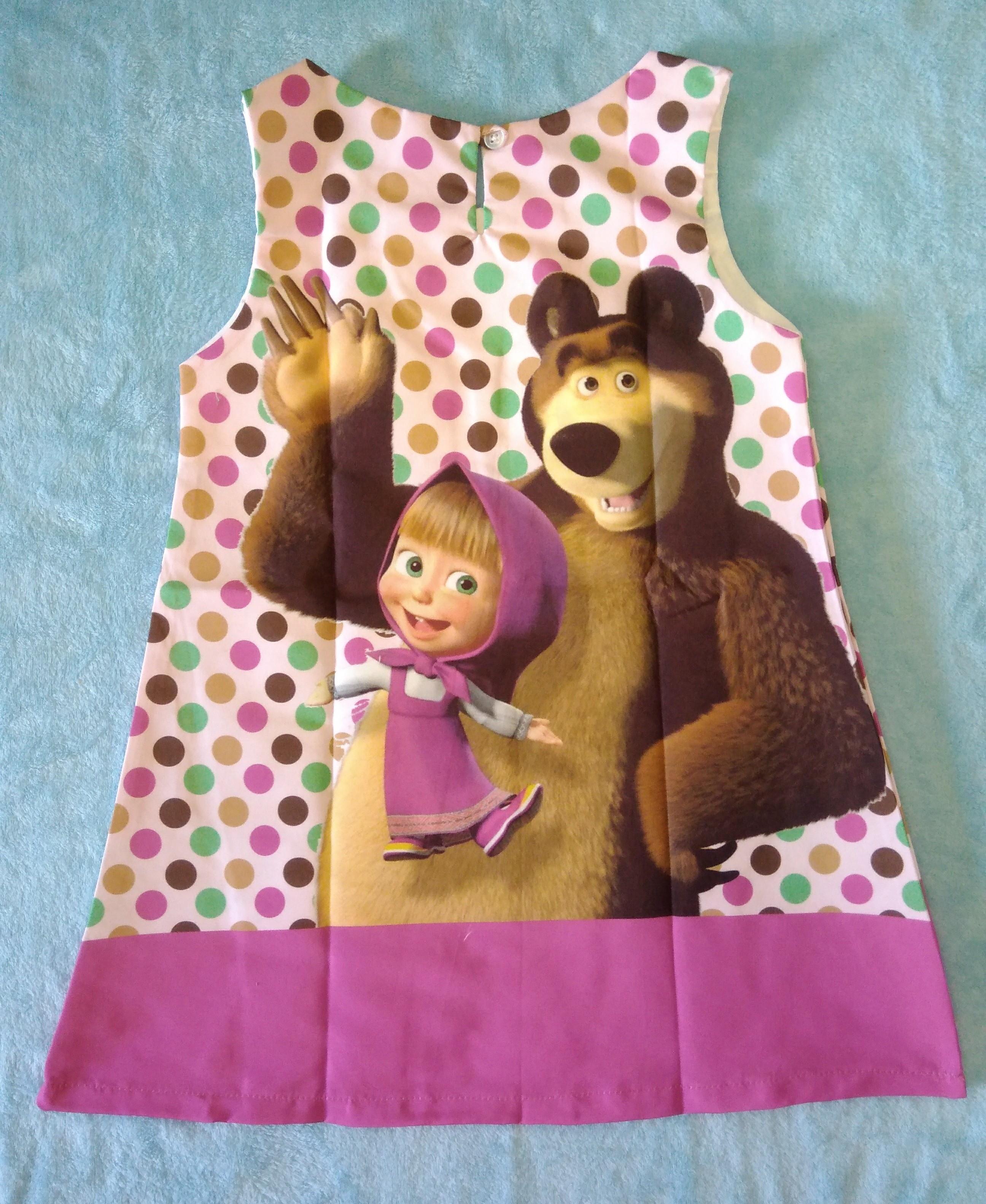 Vestido Trapézio Crepe Masha E O Urso Modelo 2 6 Anos