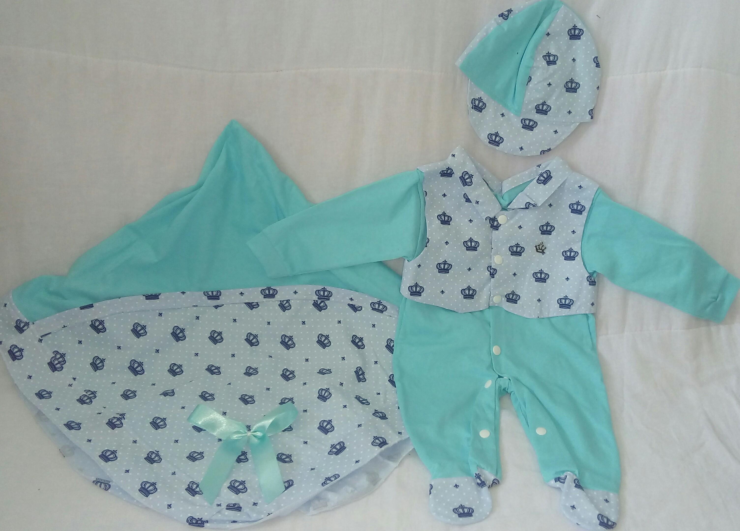 Saida Maternidade Bebe Menino Azul Claro  4123ddc8634