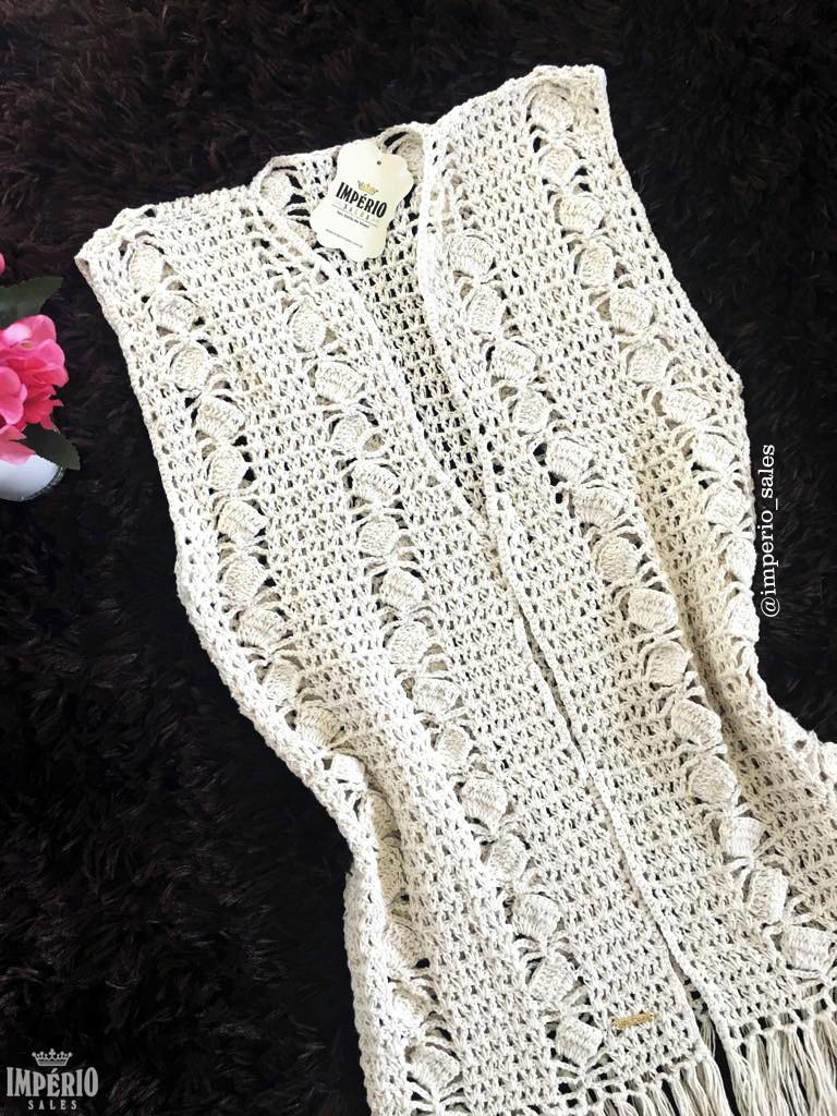 1bb9f44ac1 Colete Crochê Franjas Versátil Kimono Saída de Praia 2019 no Elo7 ...