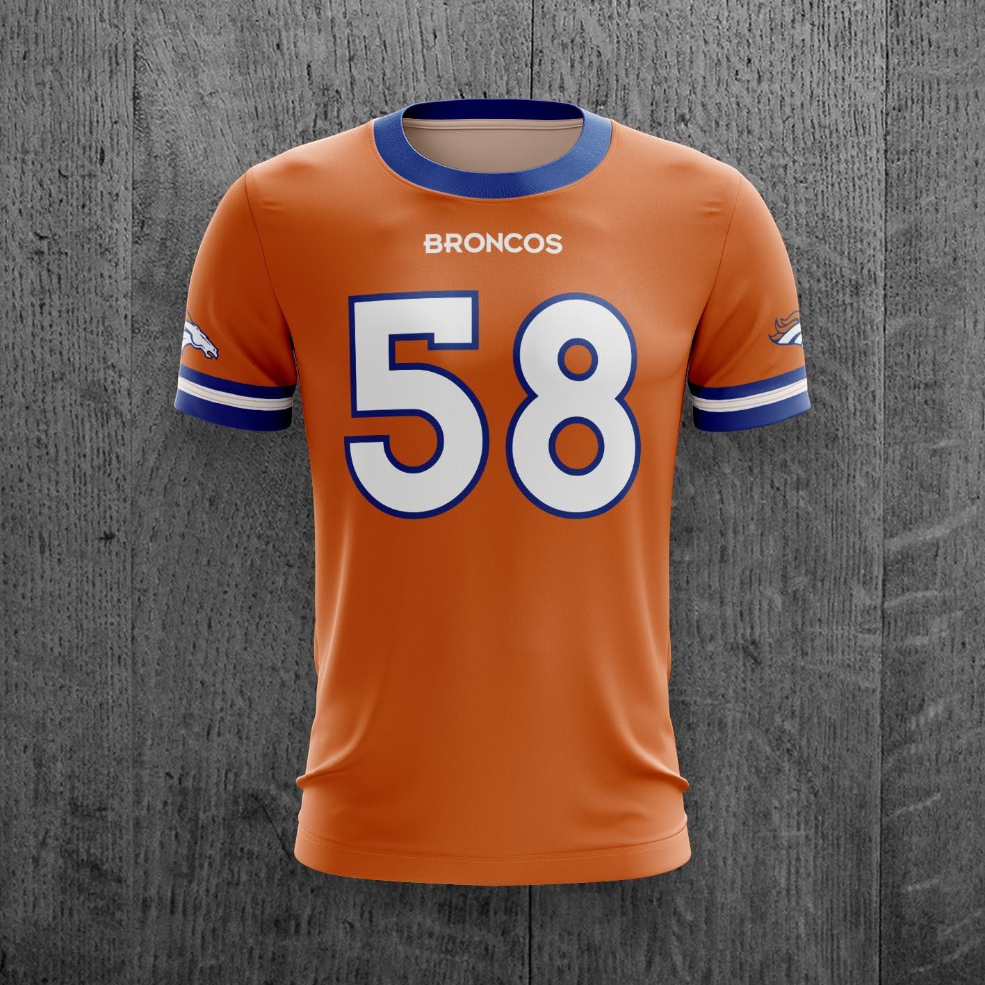 cf82fb0217 Camiseta Denver Broncos Nfl Futebol Americano Personalizado