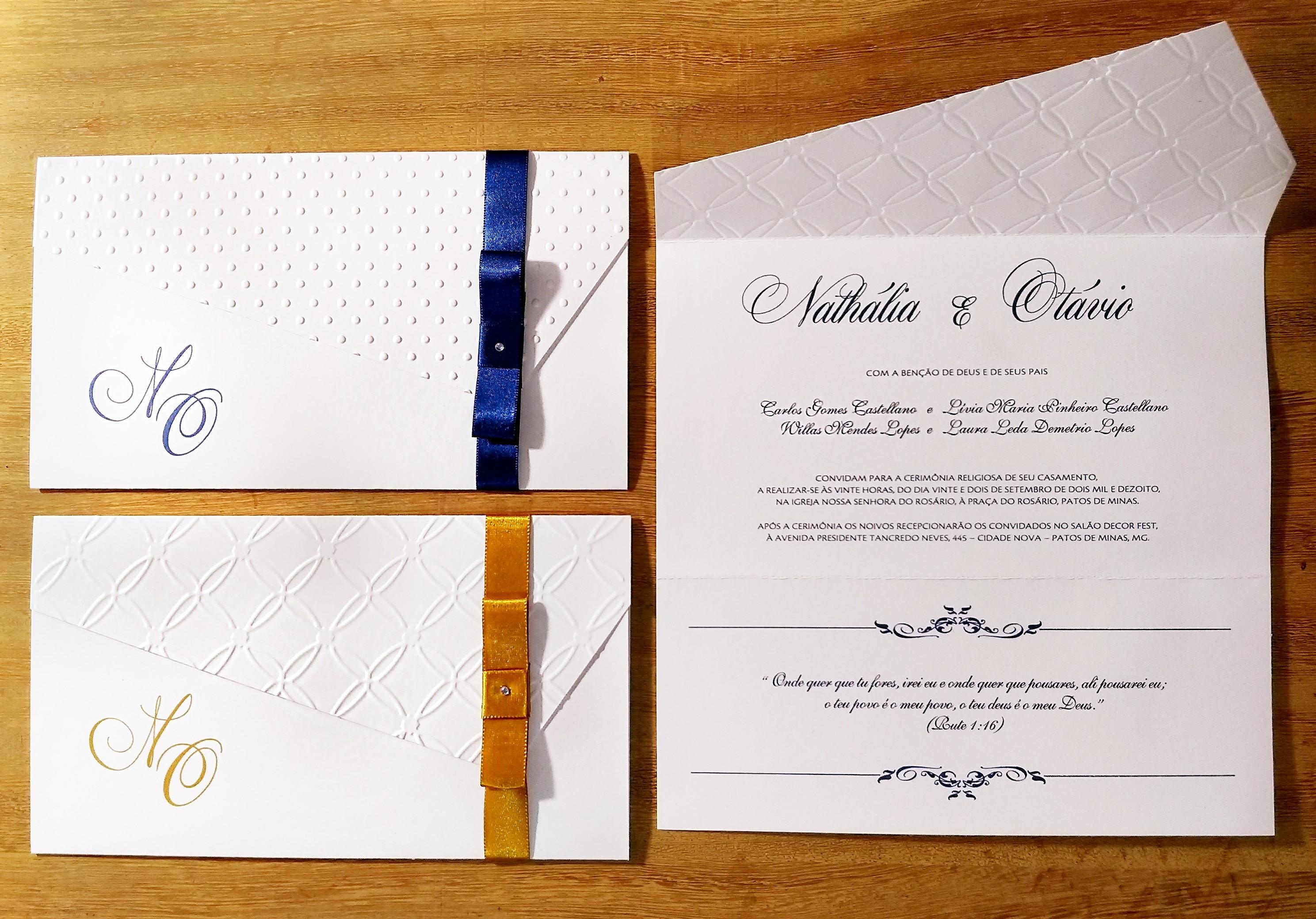 f9976ed37f8 Convite Classico Casamento Relevo Seco e Laco Chanel