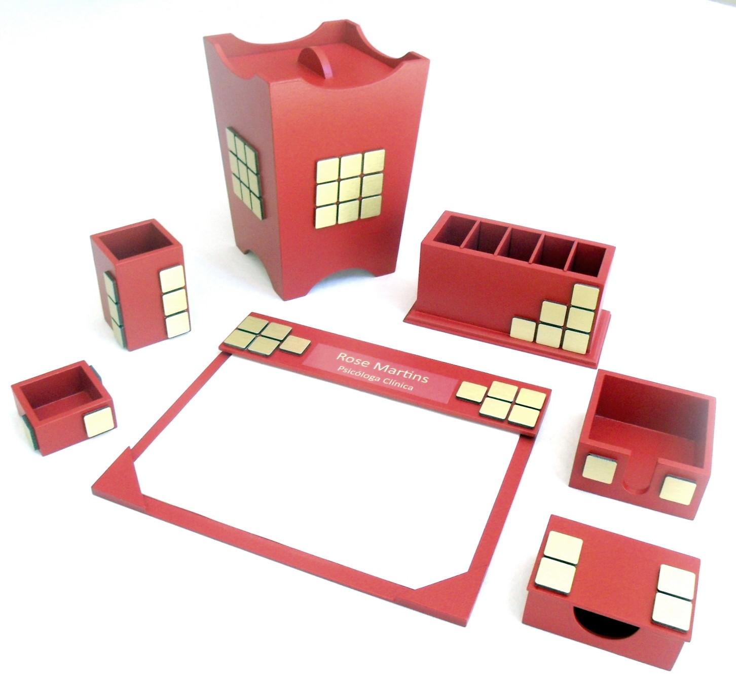 Organizador de mesa com 6 peças cor vinho no Elo7  1689f6fc9a63d