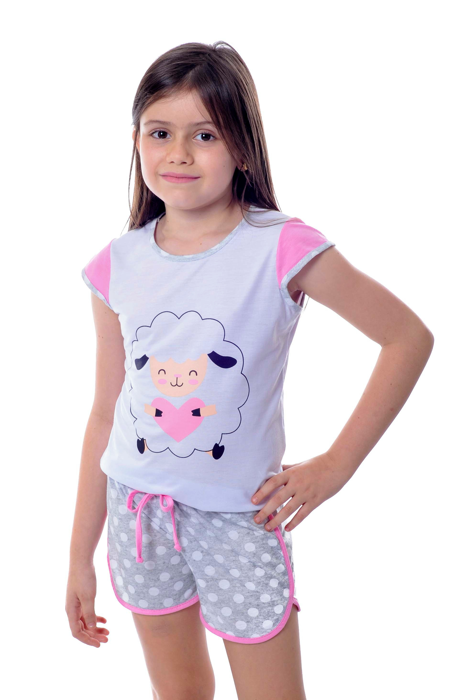 c95852fb6 Pijama Infantil Feminino Curto - Ovelhas no Elo7