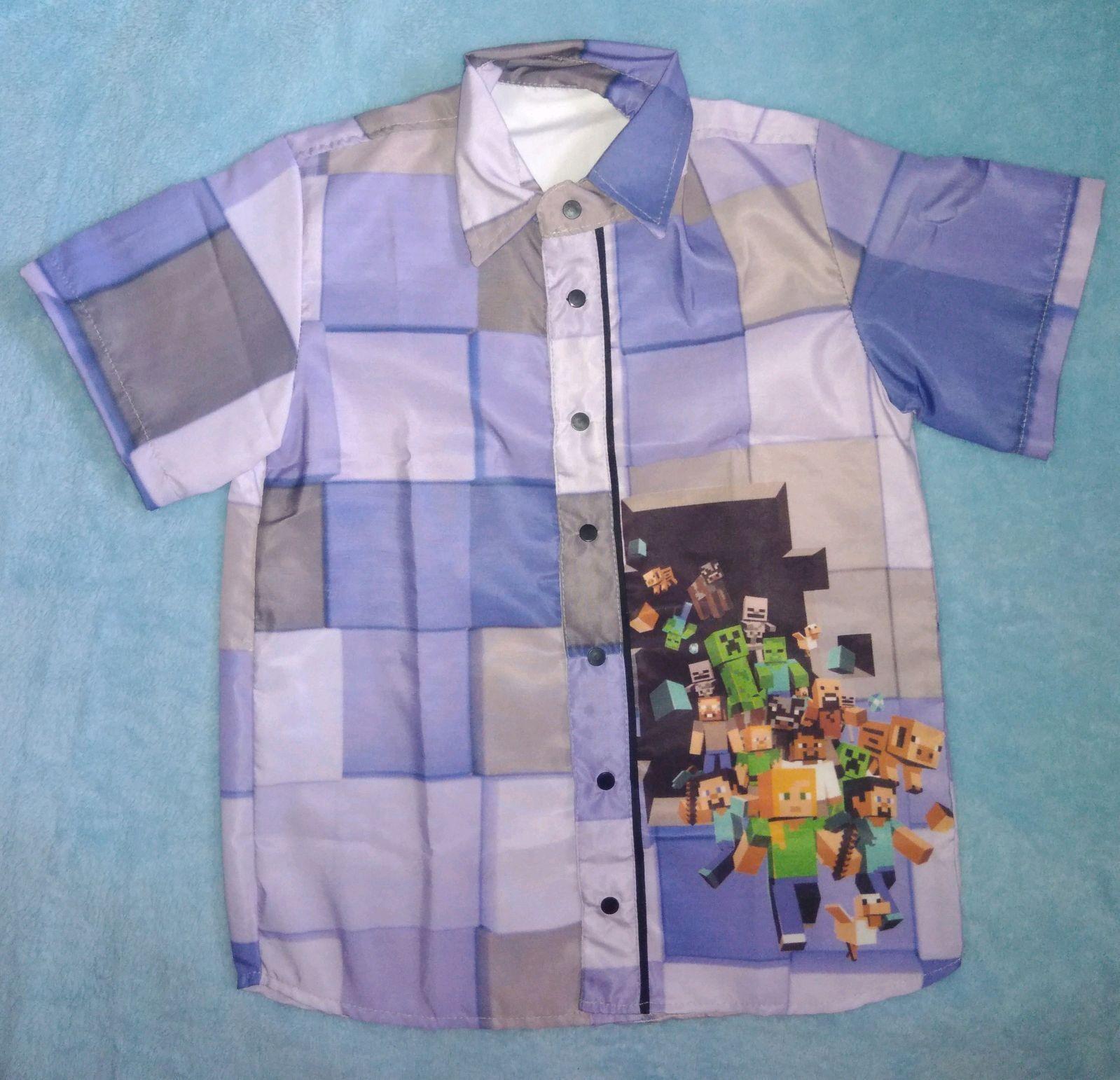 Camisa Minecraft Azul Claro  86cc0c2ed9523