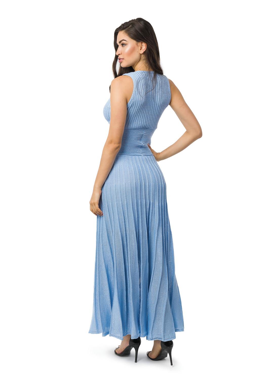 9fe4811a69 Vestido Longo Tricot Plissado Com Lurex Liso Azul Claro 5067 no Elo7 ...