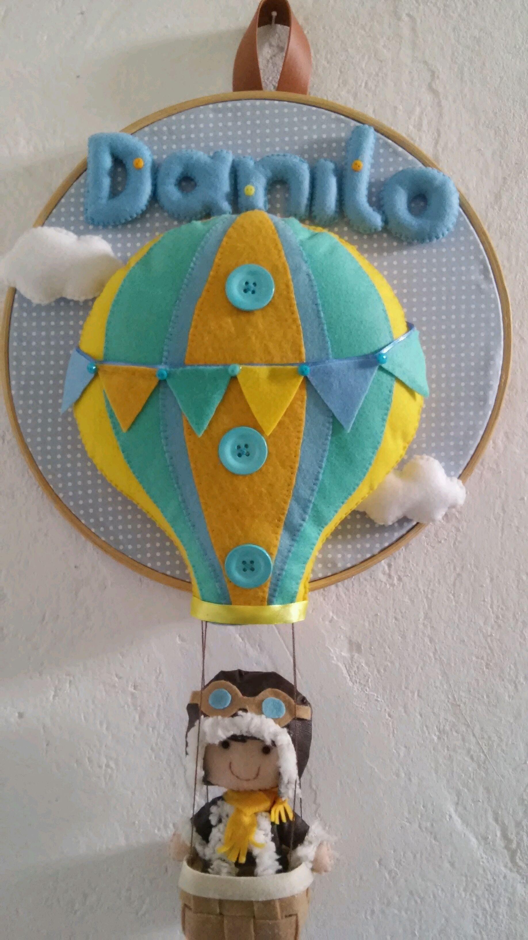 Enfeite Porta Maternidade Balao com Aviador  2110f0256a45b