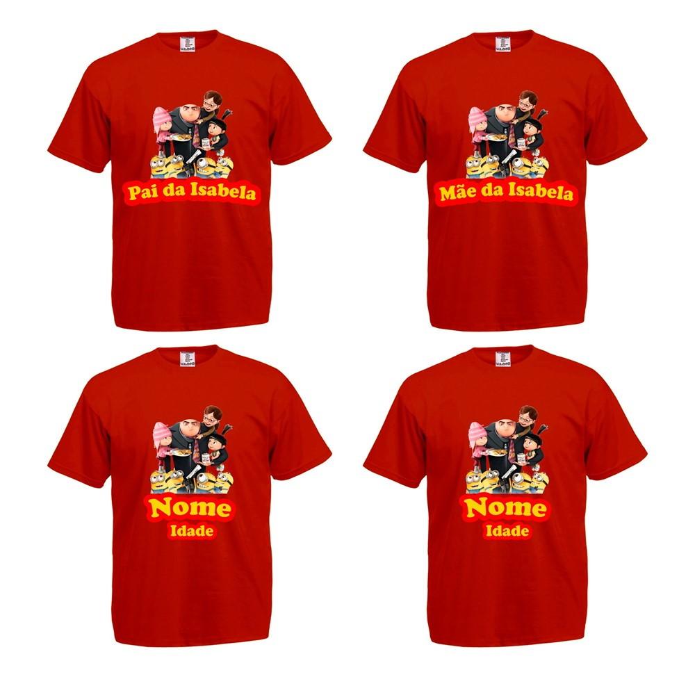 89659eab48bb Kit 4 Camisetas Tal Pai Mae Filho Filha Meu Malvado Favorito   Elo7
