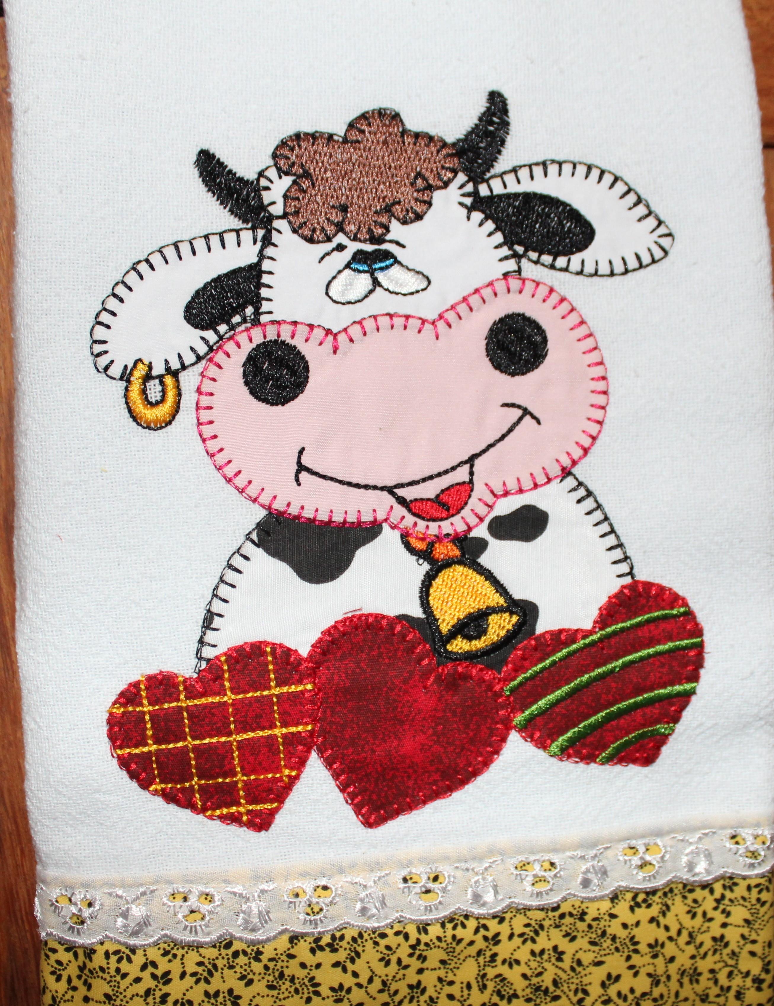Vaquinha Tricotando Pano De Prato Elo7