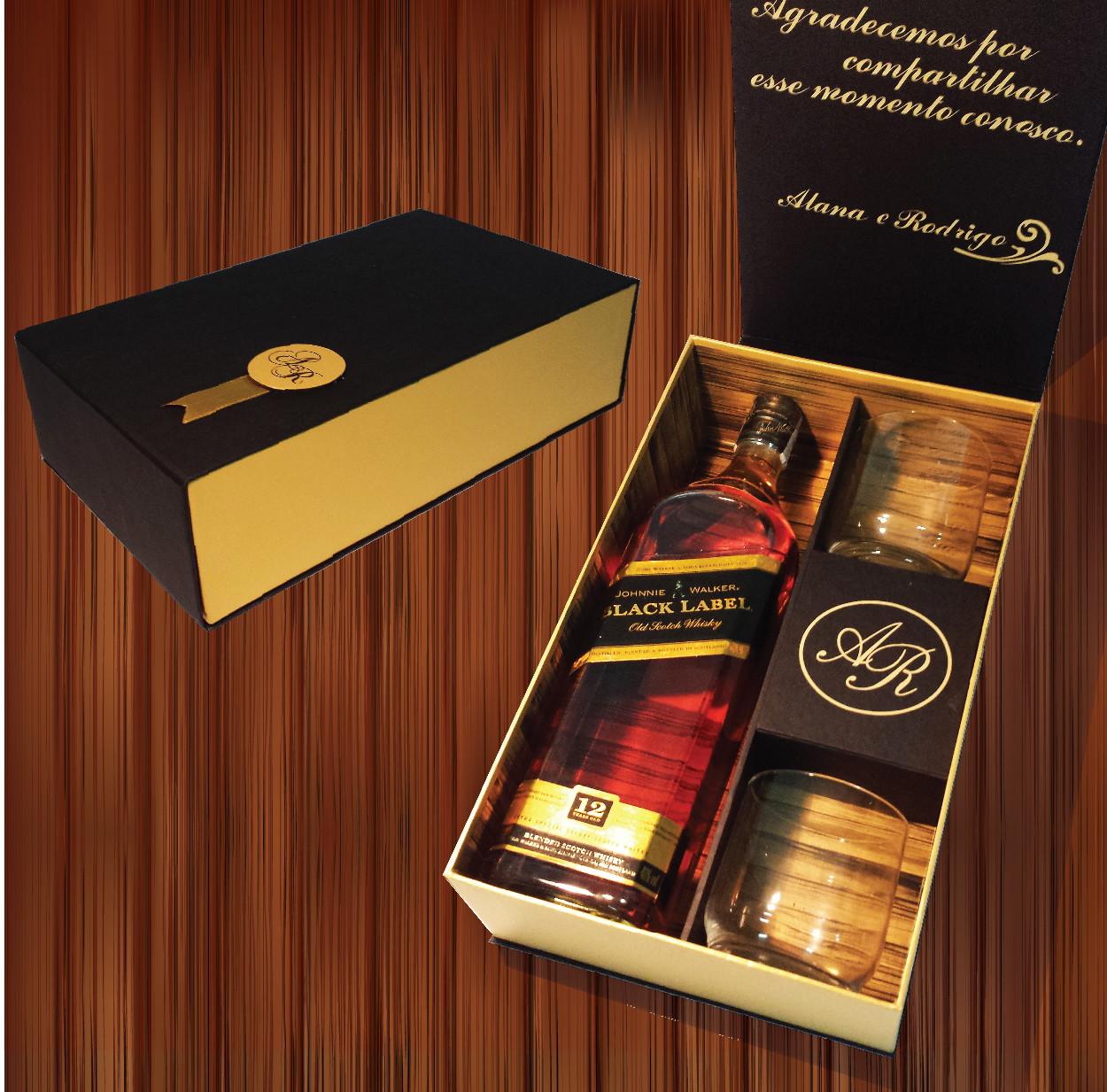 Caixa Para Convite Padrinho Whisky Black